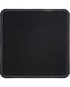 Black Faux Leather Square Coaster (gold underneath)