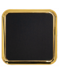 Black Faux Leather Square Gold Coaster (Gold Engraving)