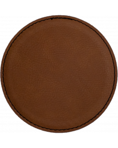 Brown Round Faux Leather Coaster