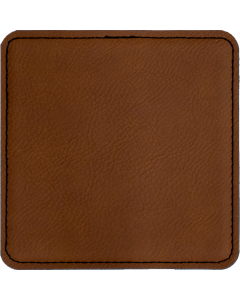 Brown Faux Leather Square Coaster