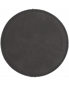 Gray Faux Leather Round Coaster