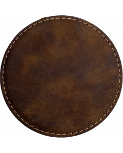Rustic Faux Leather Round Coaster