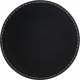 Black Faux Leather Round Coaster (gold underneath)