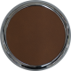 Brown Faux Leather Chrome Round Coaster